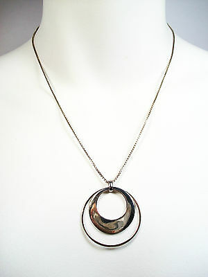 METALSMITHS - Silver Double Orbit Pendant/Necklace - Signed - Italy - Circa 2000