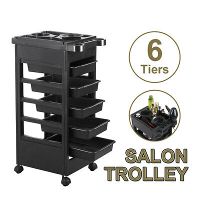 Hair Trolley 6 Tiers Salon Spa Hairdresser Multifunction Rolling Storage Cart AU
