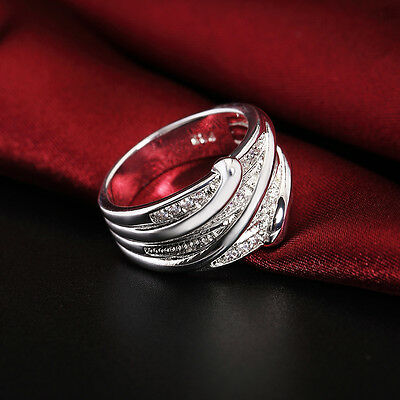 Fashion 925 Sterling Silver Crystal Jewelry Wedding Engagement Wedding Ring New