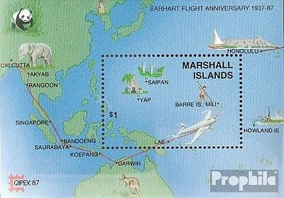 Marshall-Islands block3 fine used / cancelled 1987 Flights to the World