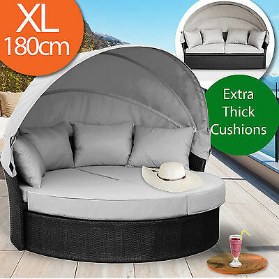 Wicker Outdoor Furniture Sun Lounge Day Bed Setting Black Rattan Daybed Sofa Set