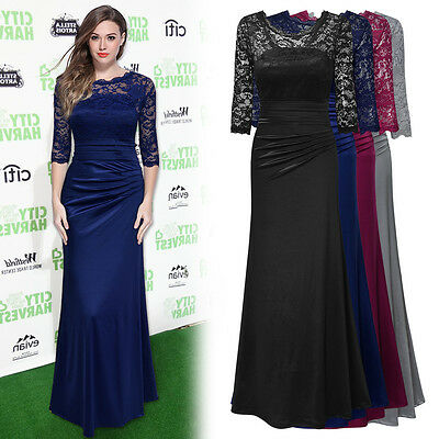 New Women's Vintage Style Formal Evening Party Bridesmaid Floral Lace Long Dress