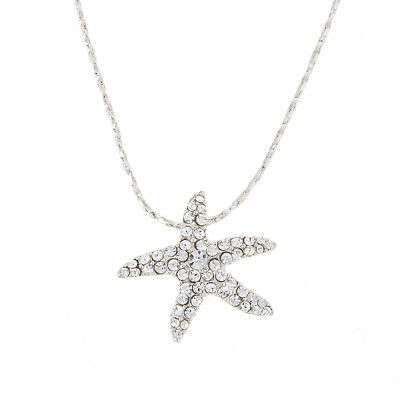 """18K White Gold Plated 23mm Starfish Pendant Crystal Necklace - 18"""" Chain (H97/3)"""