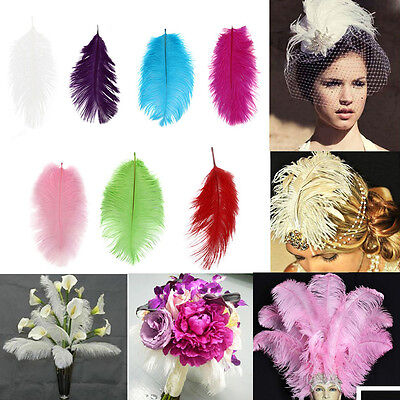 UK 10/50pcs Large Ostrich Feathers For Craft Xmas Birthday Wedding Party 15-35CM