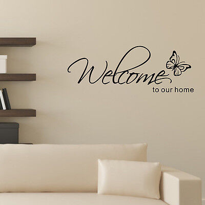 Welcome To Our Home Butterfly Wall Art Sticker Vinyl Stickers Decals Home Decor