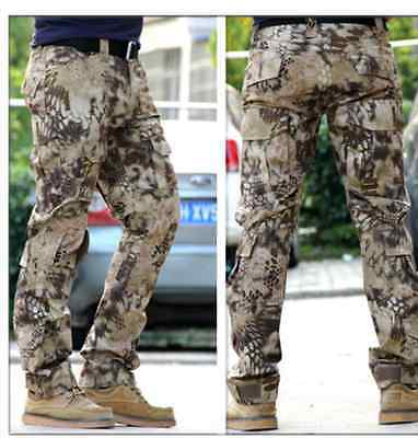 Mens Camouflage Cargo Military Army Pants Slim Feet Motorcycle Trousers Straight