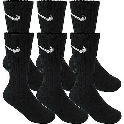 Nike 6 Pair 6 Pack New Socks Crew Black Men's Size 8-12 Performance Cushioned