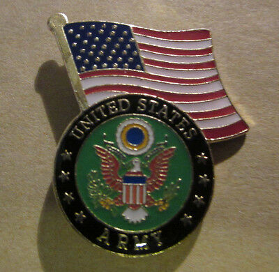 "*U S Army with American Flag over Army Seal"" Lapel,Hat pin,Tie Tack"