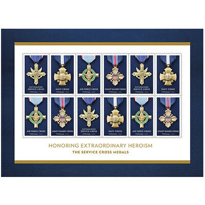 USPS New The Service Cross Medals Souvenir Sheet of 12