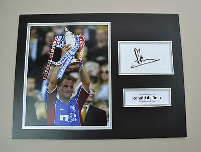 Ronald de Boer Signed 16x12 Photo Autograph Display Rangers Memorabilia + COA