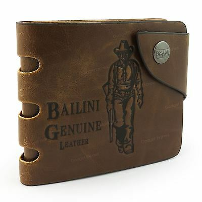 Mens Cowboy Luxury Quality Leather Wallet Credit Card Zip Holder Purse Brown UK