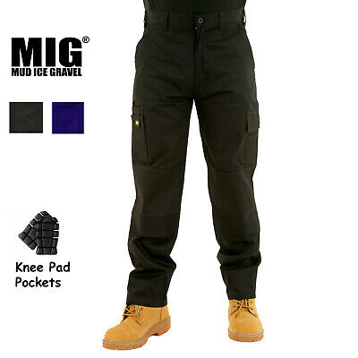 NEW Mens Cargo Work Trousers Size 30 to 42 COMBAT with KNEE PAD POCKETS - By MIG