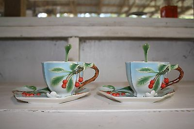 Two's Company Cherry Tea Set Garden Tea Party Set of 2 Cups Saucers and Spoons