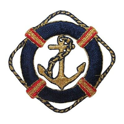 RBA-98 RED ANCHOR PATCH RED  APPLIQUE WITH NAVY BLUE AND WHITE LIFE PRESERVER