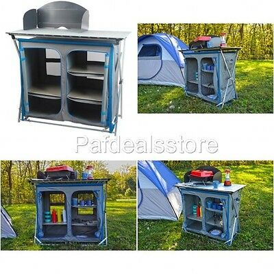 Prep Table Rack Cupboard Grill Stove Storage Picnic Camping Equipment Kitchen