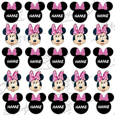 25 PINK Minnie Mouse PRE-CUT Edible Wafer Card Cupcake TOPPERS PERSONALISED
