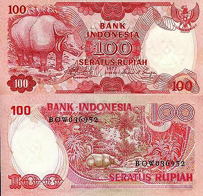 INDONESIA 100 Rupiah Banknote World Paper Money UNC Currency Pick p-116 Rhino