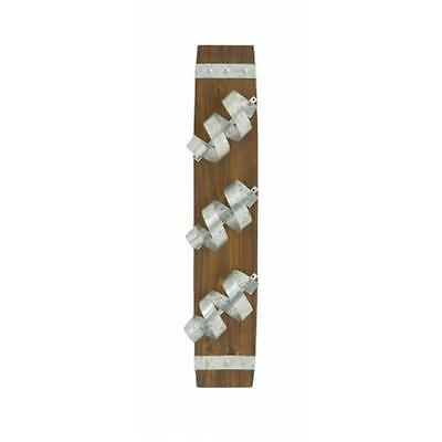 Benzara 85219 Fantastic Wood Metal Wall Wine Holder