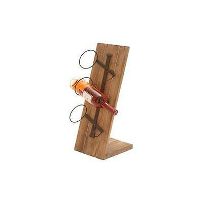 Benzara 55846 Table Top Wood Metal Wine Holder 22 in. H 9 in. W