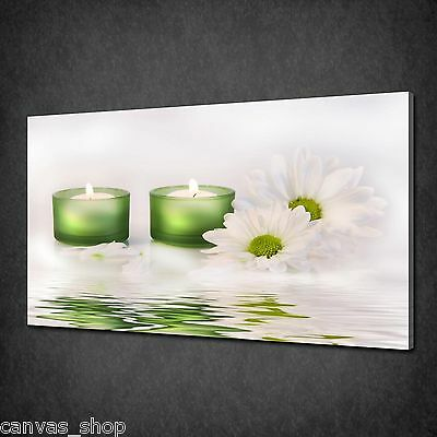 Green Candles White Daisy Flowers Zen Calm Canvas Print Picture Ready To Hang