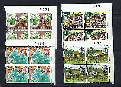 SEYCHELLES 1962 QEII (SG 207-210) VF MNH plate blocks of 4