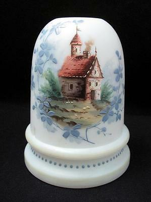 Antique Hand Painted Milk Glass Fairy Light Lamp Candle Holder Rustic Cottage