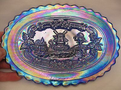 Imperial Carnival Glass Electric Amethyst Windmill Dresser Tray-carnival glass