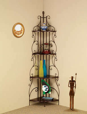 Metal Copper Finish Corner Rack with 4 Shelves by Coaster 910038