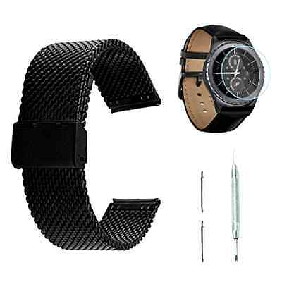 New Samsung Gear S2 Classic Watch Band black Stainless Steel + Screen Protector