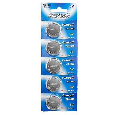 5 x EUNICELL CR2450 3V Lithium Batteries  BR2450  DL2450 Button Cell Battery