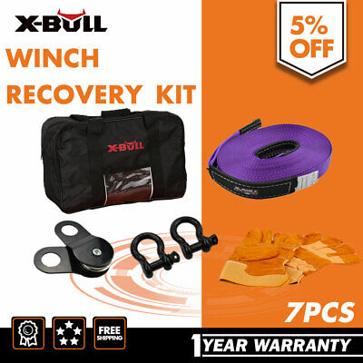 X-BULL Recovery Kit  Snatch Straps Bow Shackles Gloves with Bag  7PCS 4WD 4X4