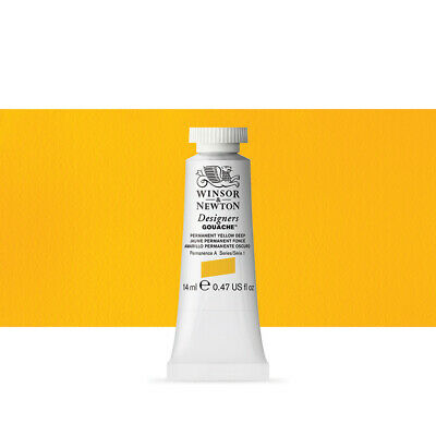 Winsor & Newton : Designer Gouache Paint : 14ml : Permanent Yellow Deep