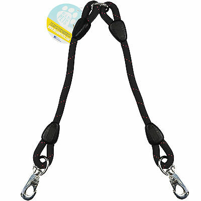 Me & My Black Rope Twin/2 Way Double Dog Lead Splitter/coupler/extender Two Dogs