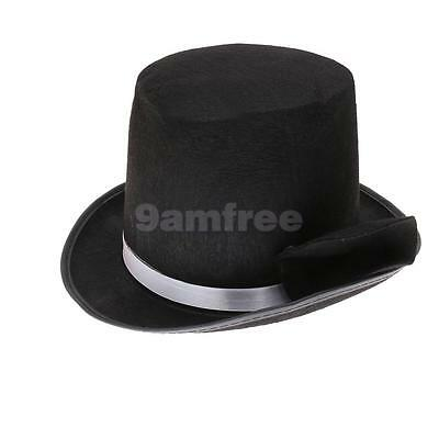 Black Tall Top Hat Mens Magician Fancy Dress Victorian Lincoln Ringmaster