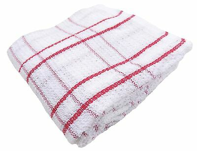 6 X 100% Cotton Red White Check Stripe Thick Tea Towels Dish Cloths