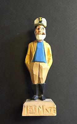 Vintage Folk Art Hand Carved Wood Carving Sailor Sculpture Artist Signed Hannah
