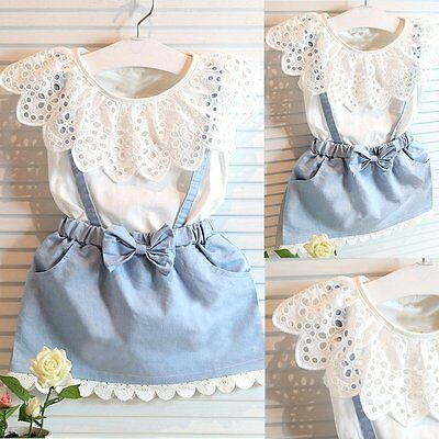 2PCS Toddler Kids Baby Girls Clothes T-shirt Tops+Denim Vest Skirt Outfits Sets