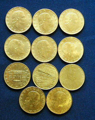 1977/99 Italy collection cpl set 11 type 200 £ coins XF/aUNC/UNC  high quality
