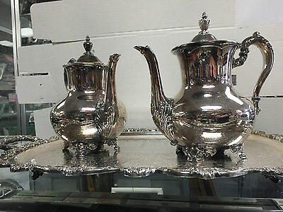 Vintage Poole #5000 Old English Silverplate 3 pc Footed Coffee/Tea Set and Tray