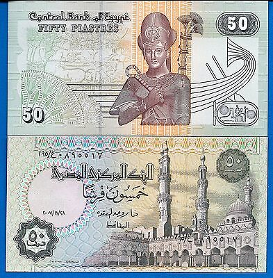 Egypt P-62 Fifty Piastres Year 1995-2007 Uncirculated FREE SHIPPING