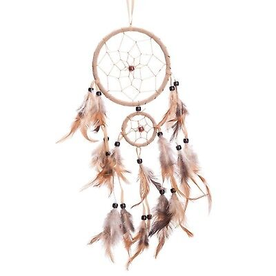"""18"""" Traditional Beige Dream Catcher with Feathers Wall or Car Hanging Ornamen..."""