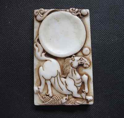 Old Chinese white Jade hand-carved horse Ink stone A802