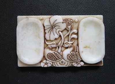 Old Chinese white Jade hand-carved Mandarin duck Ink stone A807