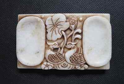 Old Chinese white Jade hand-carved Mandarin duck Ink stone A808