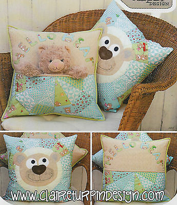 PATTERN - Bear Buddie - sweet applique pocket cushion PATTERN - Claire Turpin