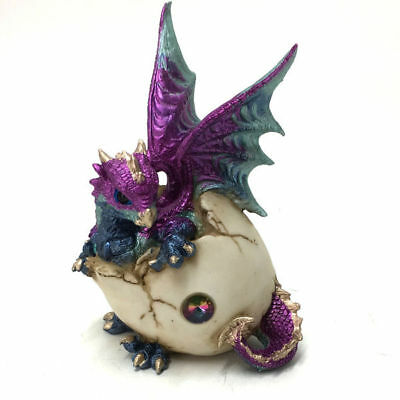 Dragon Hatching out of Egg Figurine Ornament Sculpture Statue Purple 18cm 3295