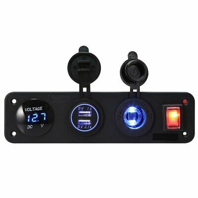 AU Ship Car Dual USB Charger+Blue LED Light Power Socket for Rocker Switch Panel