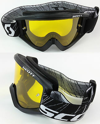 SCOTT RECOIL XI MOTOCROSS MX GOGGLES BLACK with GOGGLE-SHOP YELLOW TINTED LENS