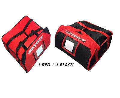 """2 PIZZA DELIVERY BAGS (20""""x 20""""x 7"""") Full Insulated  Heavy Duty (1 Red+1 Black)"""