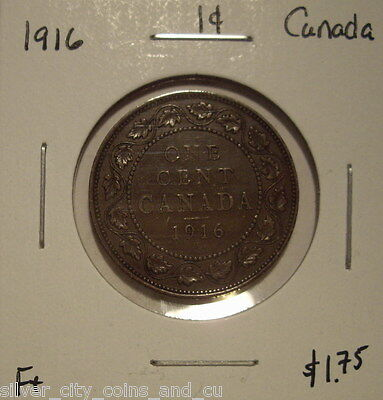 Canada George V 1916 Large Cent - F+